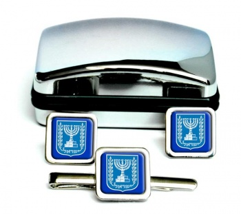 Israel Crest Square Cufflink and Tie Clip Set
