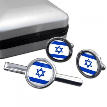 Israel  Round Cufflink and Tie Clip Set