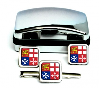 Italian Navy (Marina Militare) Square Cufflink and Tie Clip Set
