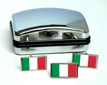 Italy Italia Flag Cufflink and Tie Pin Set
