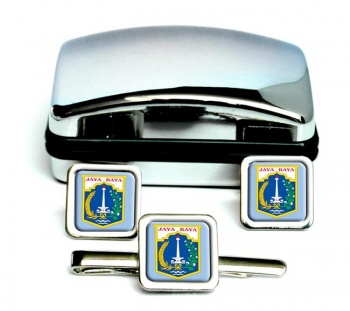 Jakarta (Indonesia) Square Cufflink and Tie Clip Set