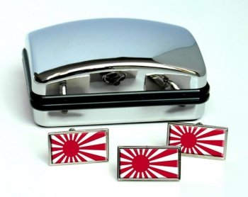 Rising Sun Flag  (Japan) Flag Cufflink and Tie Pin Set