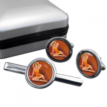 Jeanette Pin-up Girl Round Cufflink and Clip Set