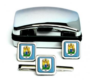Jena (Germany) Square Cufflink and Tie Clip Set