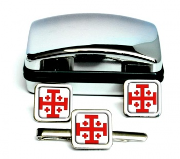 Jerusalem Cross (Holy Sepulchre) Square Cufflink and Tie Clip Set