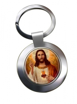 Jesus Sacred Heart Leather Chrome Key Ring