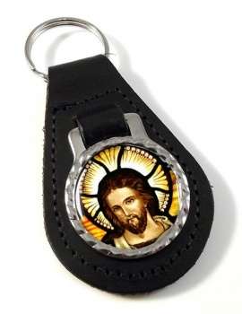 Icon of Christ Leather Keyfob