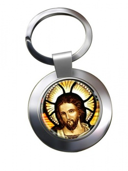 Icon of Christ Leather Chrome Key Ring