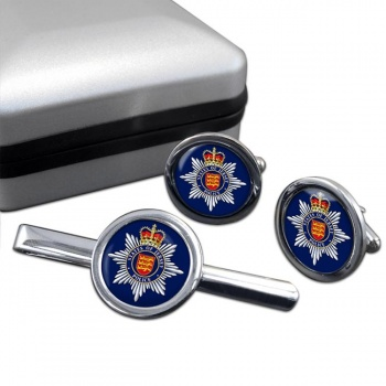 States of Jersey Police Round Cufflink and Tie Clip Set
