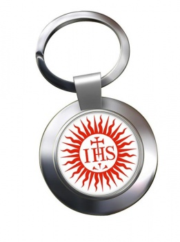 Jesuit Sun Leather Chrome Key Ring