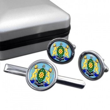Johannesburg (South Africa) Round Cufflink and Tie Clip Set