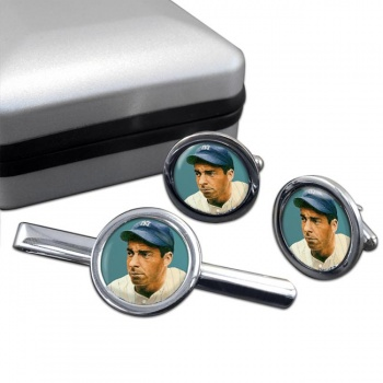 Joe DiMaggio Round Cufflink and Tie Clip Set