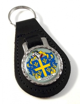 Johnson Coat of Arms Leather Key Fob