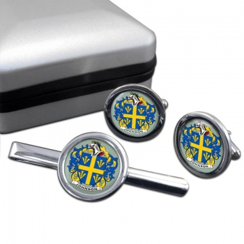 Johnson Coat of Arms Round Cufflink and Tie Clip Set