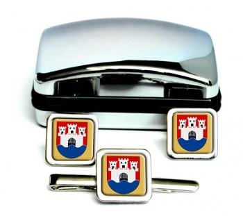 Jonkoping (Sweden) Square Cufflink and Tie Clip Set