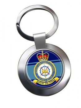 RAF Station Jurby Head Chrome Key Ring