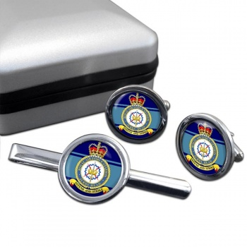 RAF Station Jurby Head Round Cufflink and Tie Clip Set
