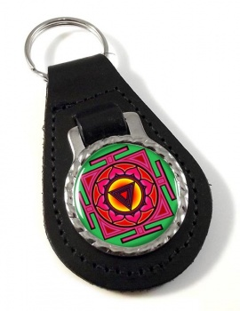 Kali Yantra Leather Keyfob