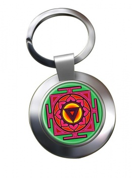 Kali Yantra Leather Chrome Key Ring