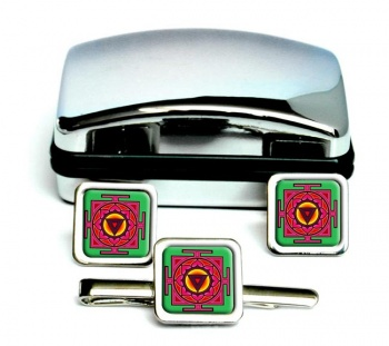 Kali Yantra Square Cufflink and Tie Clip Set