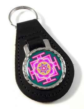 Kamala Yantra Leather Keyfob
