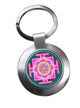 Kamala Yantra Leather Chrome Key Ring