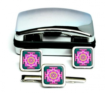 Kamala Yantra Square Cufflink and Tie Clip Set