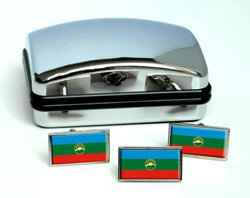 Karachay-Cherkessia Flag Cufflink and Tie Pin Set