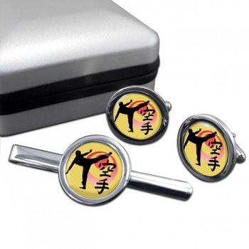 Karate Round Cufflink and Tie Clip Set