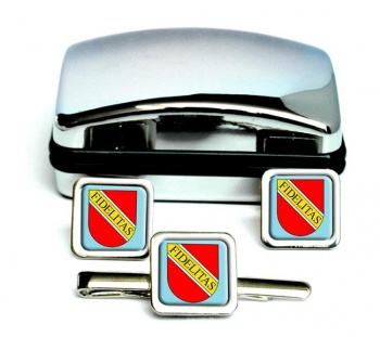 Karlsruhe (Germany) Square Cufflink and Tie Clip Set