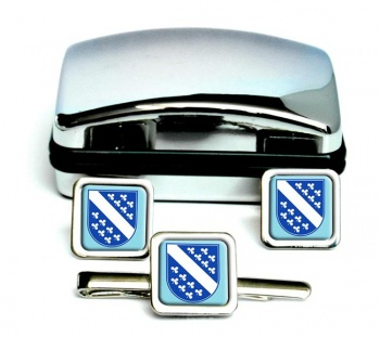Kassel (Germany) Square Cufflink and Tie Clip Set