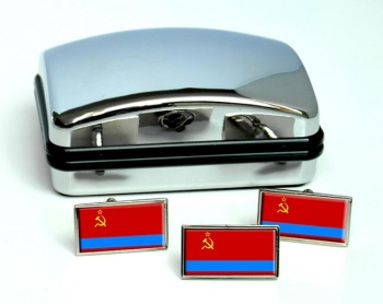 Kazakh Soviet  Flag Cufflink and Tie Pin Set
