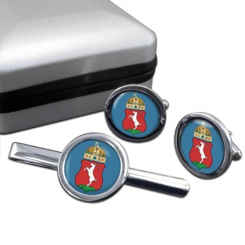Kecskemet Round Cufflink and Tie Clip Set