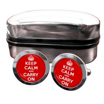 Keep Calm and Carry On Round Cufflinks