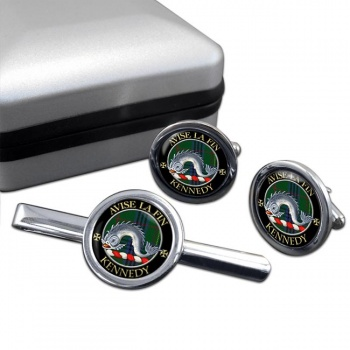 Kennedy Scottish Clan Round Cufflink and Tie Clip Set