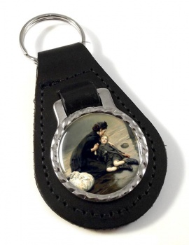 Homeless by Eric Kennington Leather Keyfob