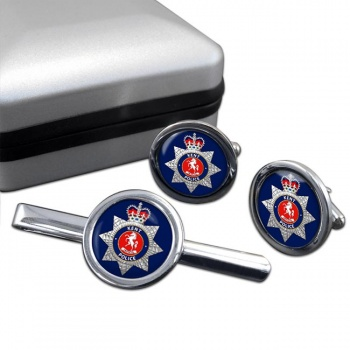 Kent Police Round Cufflink and Tie Clip Set