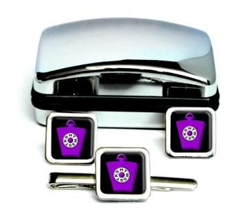 Order of Mark Master Masons Square Cufflink and Tie Clip Set