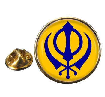 Khanda Round Pin Badge