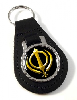 Khanda relief Leather Keyfob