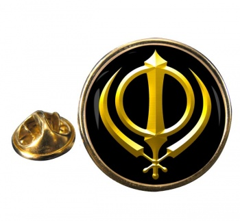 Khanda relief Round Pin Badge