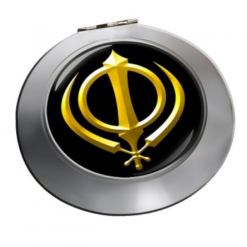 Khanda relief Chrome Mirror