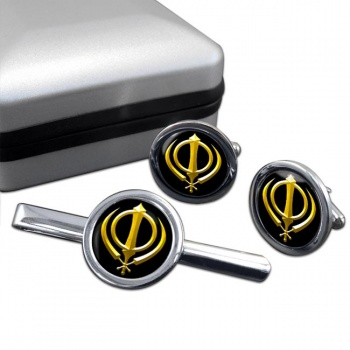 Khanda relief Round Cufflink and Tie Bar Set