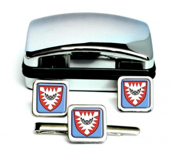 Kiel (Germany) Square Cufflink and Tie Clip Set