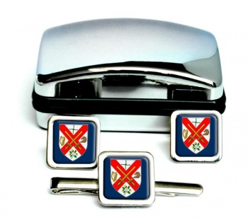 County Kildare (Ireland) Square Cufflink and Tie Clip Set