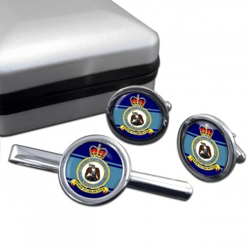 RAF Station Kinloss Round Cufflink and Tie Clip Set