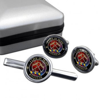 Kinnear Scottish Clan Round Cufflink and Tie Clip Set