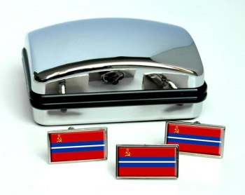 Kirghiz Soviet  Flag Cufflink and Tie Pin Set