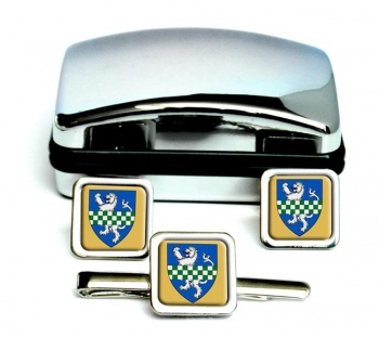 Kirkcudbrightshire (Scotland) Square Cufflink and Tie Clip Set