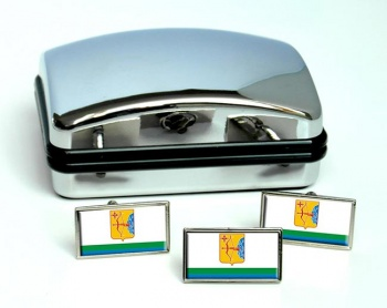 Kirov Oblast Flag Cufflink and Tie Pin Set